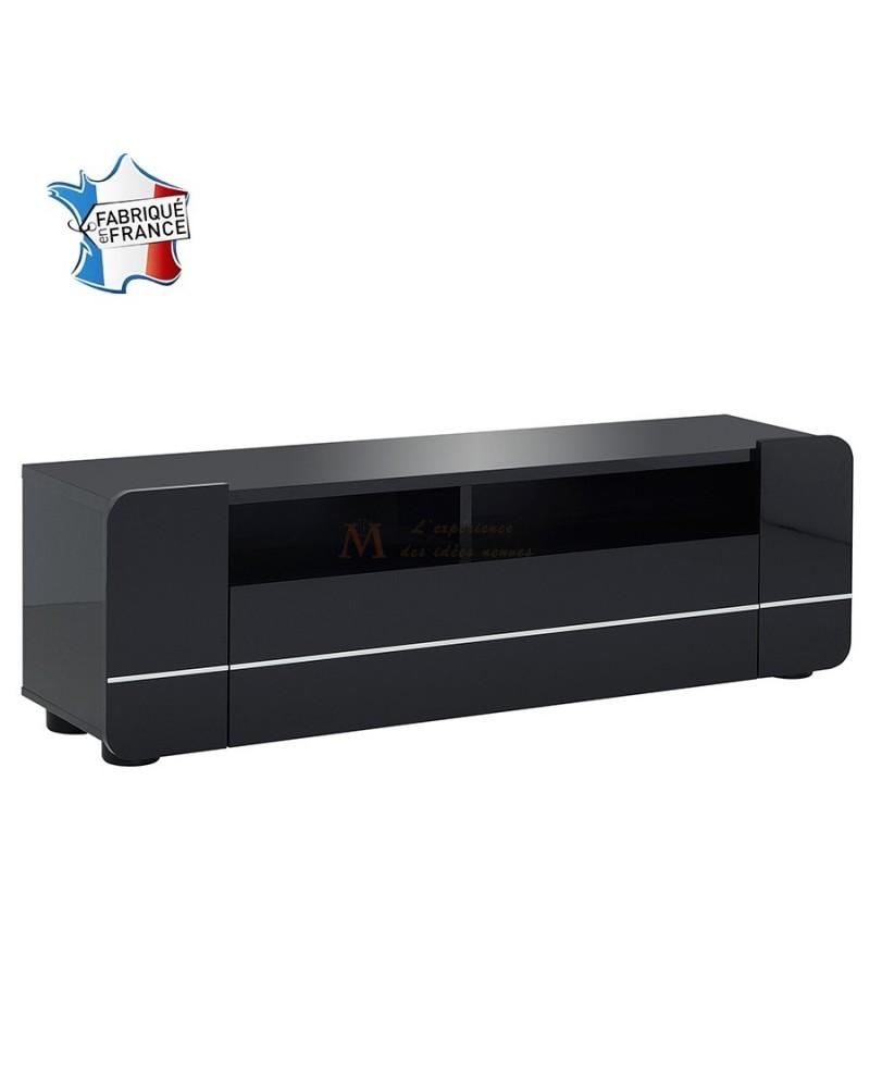 Meuble t l vision design moderne blanc ou noir porte battant for Meuble tv qui se ferme a cle