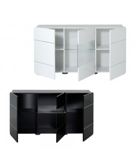 buffet enfilade 3 portes 150 cm laqu blanc ou noir pas cher. Black Bedroom Furniture Sets. Home Design Ideas