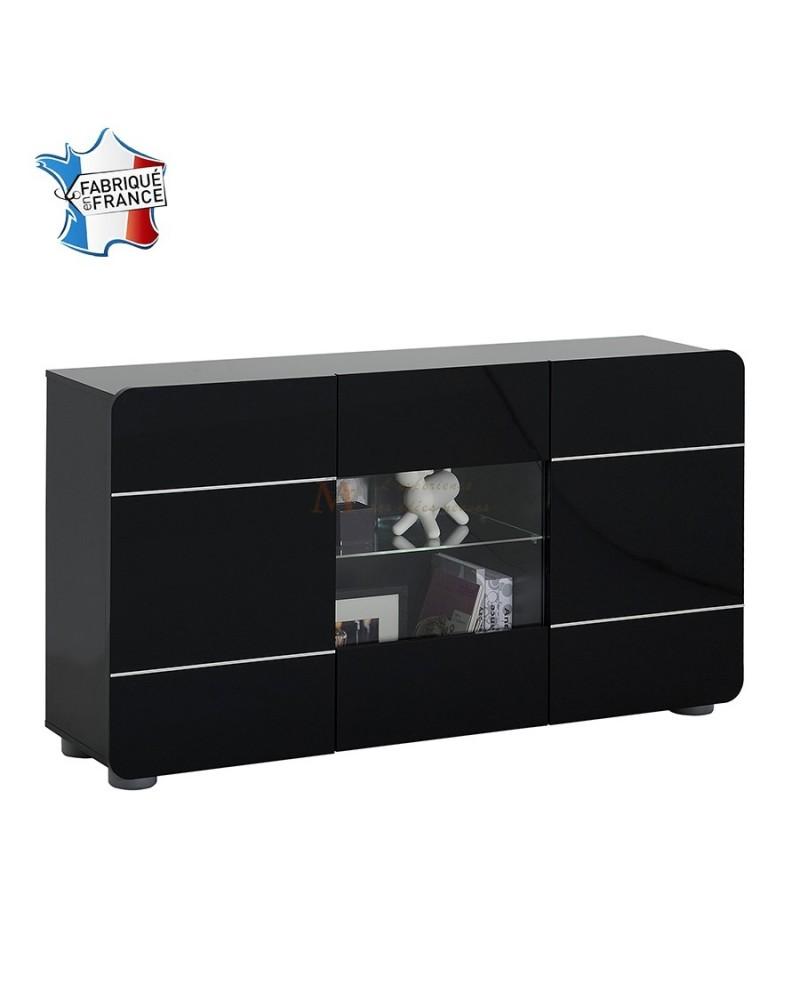 Stunning buffet noir et blanc pas cher pictures matkin for Meuble 4 portes noir laque