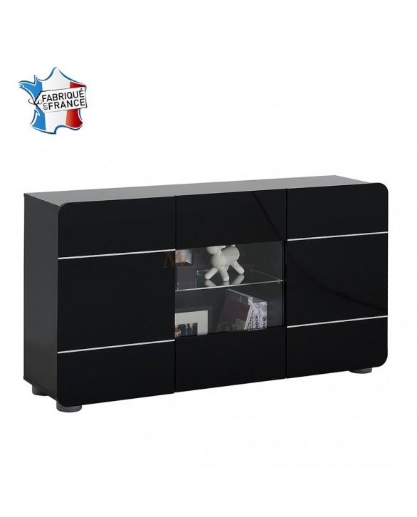 buffet enfilade 3 portes 150 cm laqu blanc ou noir pas cher. Black Bedroom Furniture Sets. Home Design Ideas