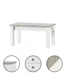 Table de salon LIBOURNE, pin blanchi et taupe, style anglais romantique