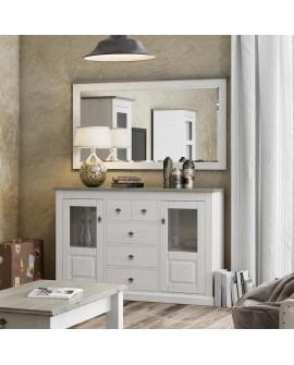 Ensemble bahut et miroir LIBOURNE 2 portes 5 tiroirs, pin blanchi et taupe, style anglais romantique