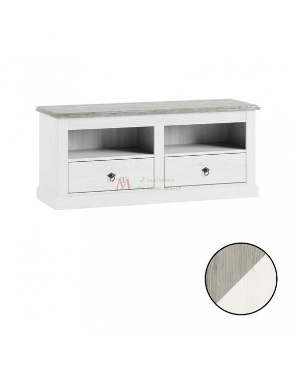 Meuble TV bicolore style anglais romantique 2 niches 2 tiroirs