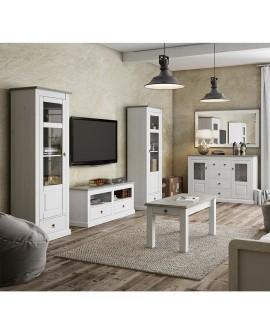 meuble tv bicolore style anglais romantique 2 niches 2 tiroirs. Black Bedroom Furniture Sets. Home Design Ideas