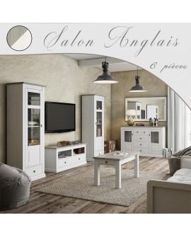 Salon 6 pièces de style anglais romantique bicolore pin blanchi et taupe LIBOURNE