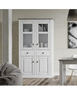 Buffet haut de style anglais romantique finition pin bicolore LIBOURNE