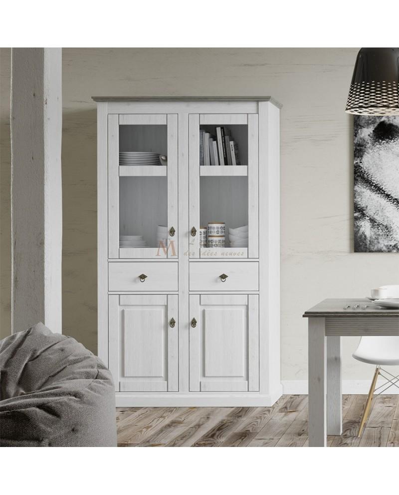 Buffet Haut Style Anglais 4 Portes 2 Tiroirs Pin Bicolore # Meuble Tv Style Romantique