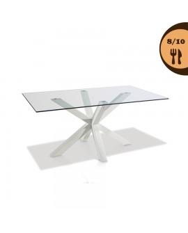 Table repas verre trempé pied en métal laqué blanc PRIDE