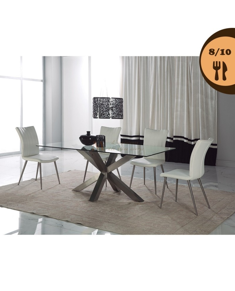 table salle manger 8 10 couverts verre tremp pied inox. Black Bedroom Furniture Sets. Home Design Ideas