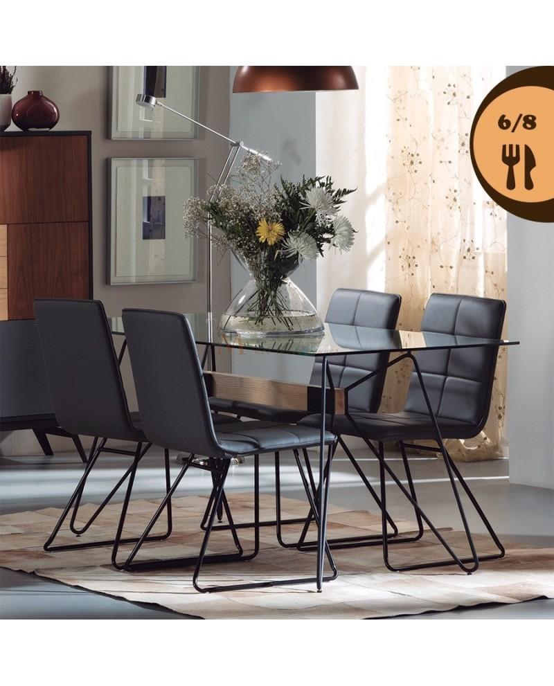 Table de salle manger plateau verre pied bois et m tal for Table de salle a manger 15 couverts