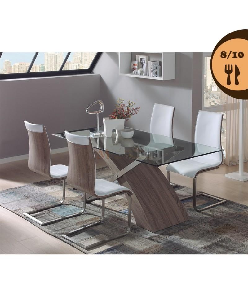Table repas 8 10 couverts plateau verre pied ch ne acier for Table en verre pied en bois