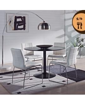 Table ronde 110 cm coloris noir pied central métal laqué HILANA