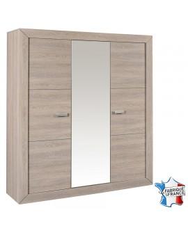 Armoire LUVIA décor chêne 3 portes battant dont une avec miroir