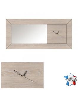 Grand miroir déco en chêne avec horloge à aiguilles intégrée LUVIA