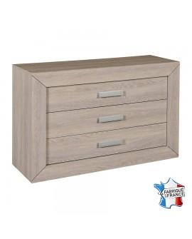 Commode 3 tiroirs décor chêne gris avec poignées métal argent LUVIA