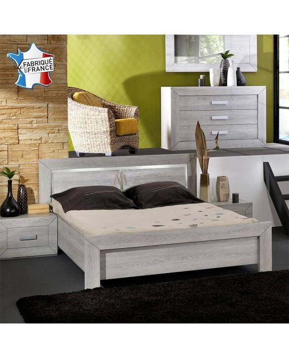 Lit adulte LUVIA décor chêne gris avec éclairage intégré dans la tête de lit