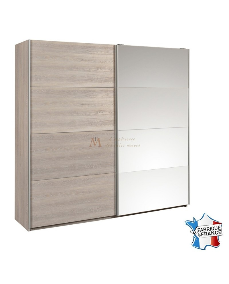 armoire moderne d cor ch ne 2 portes coulissantes avec miroir. Black Bedroom Furniture Sets. Home Design Ideas
