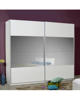 Armoire moderne 2 portes coulissantes avec miroirs laque blanche brillante OLEA