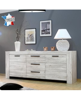 Buffet enfilade 3 portes 1 tiroir décor chêne gris NELLIA fabriqué en France