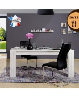 Table de salle à manger 10 à 12 couverts décor chêne gris cérusé NELLIA