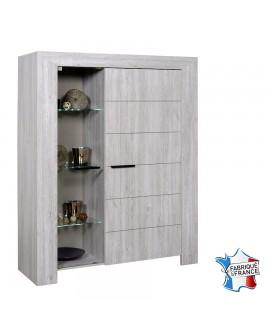 Vaisselier argentier 2 portes dont une vitrée chêne gris cérusé NELLIA