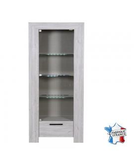 Vitrine 1 porte vitrée 1 tiroir chêne gris cérusé NELLIA