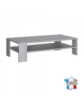 Table de salon avec tablette intermédiaire chêne gris cérusé NELLIA