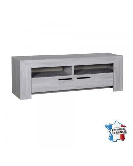 Meuble TV moderne chêne gris cérusé 2 tiroirs poignées métal NELLIA