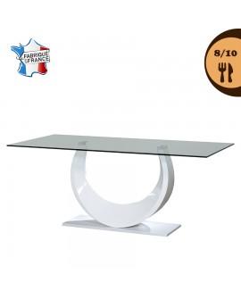 Table de salle à manger plateau verre trempé pied original laqué blanc SABRINA