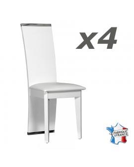 Lot de 4 chaises de salle à manger design moderne laque blanche brillante et métal