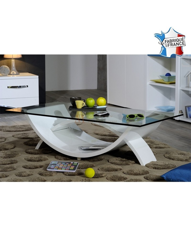 Table De Salon Moderne Plateau Verre Pied Design Laque Blanc