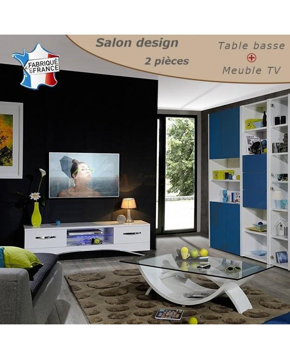 Salon complet moderne 2 pi ces verre et laque blanc brillant for Salon moderne complet