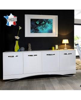 Buffet enfilade moderne 4 portes laquée blanc pied et poignées chrome SABRINA