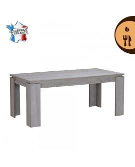 Table repas contemporaine pour 6 couverts décor chêne gris NAMIA