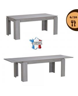 Table repas contemporaine extensible pour 6 à 10  couverts décor chêne gris NAMIA