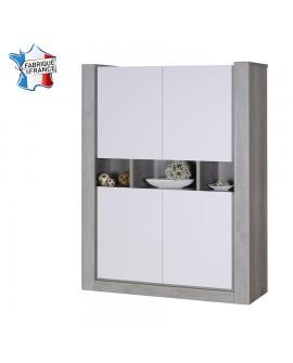 Vaisselier argentier contemporain 4 portes chêne gris et laque blanc mat NAMIA