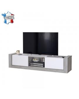 Meuble télévision moderne chêne gris et laque blanche 2 portes coulissantes NAMIA