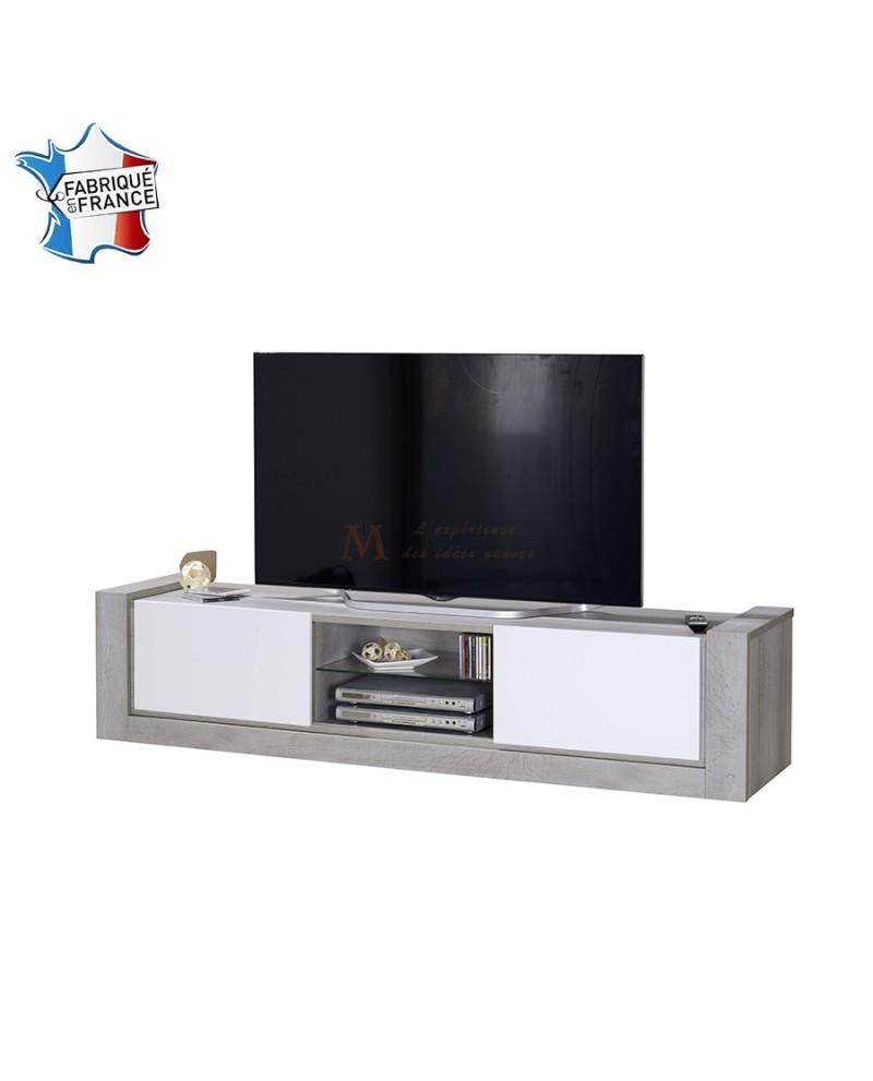 Meuble Tv Moderne 2 Portes Coulissantes Ch Ne Et Laque Blanc # Meuble Tv Vitree