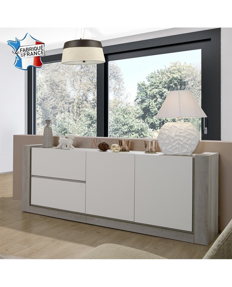 enfilade 200 cm 2 portes 2 tiroirs ch ne gris et laque blanc. Black Bedroom Furniture Sets. Home Design Ideas