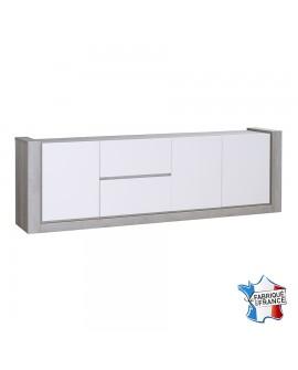 Buffet enfilade 3 portes 2 tiroirs chêne gris et laque blanc NAMIA fabriqué en France
