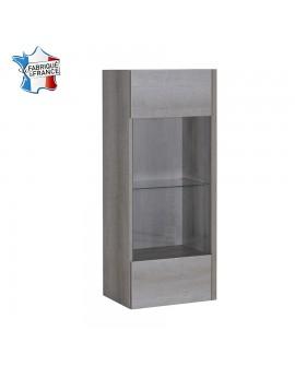 Caisson vitrine NAMIA à suspendre chêne gris avec porte et tablette verre trempé