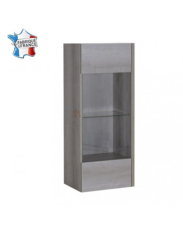 Caisson vitrine suspendu ch ne gris et 1 tablette verre namia for Deco porte vitree