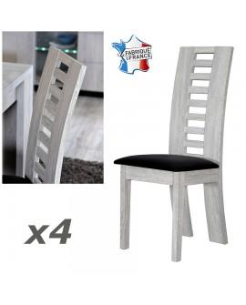 Lot de 4 chaises de salle à manger contemporaines chêne gris LORIE