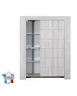 Vaisselier argentier vitrine et une porte pleine chêne gris blanchi LORIE