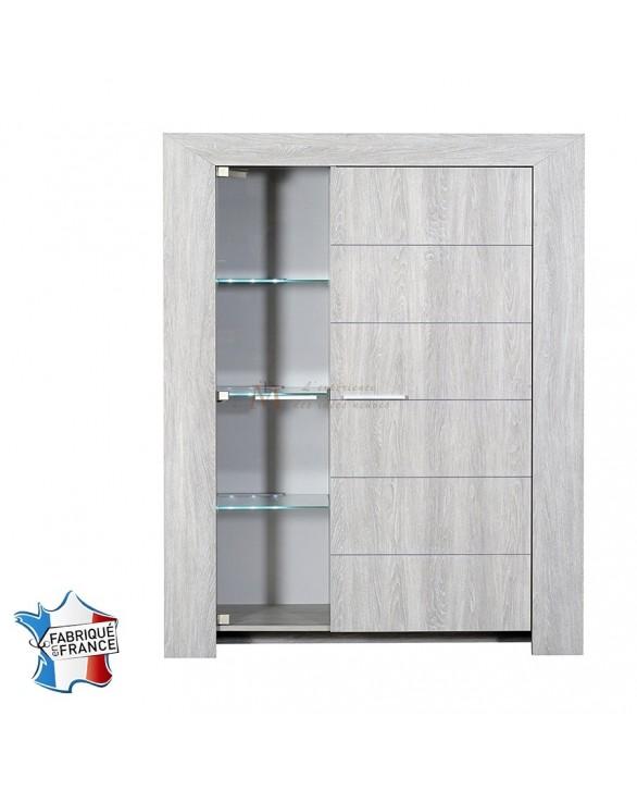 argentier moderne ch ne gris blanchi 1 vitrine 1 porte pleine. Black Bedroom Furniture Sets. Home Design Ideas