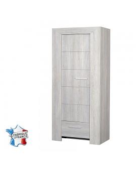 Bonnetière 1 porte 1 tiroir 3 étagères chêne blanchi LORIE