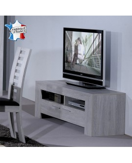 Meuble banc télévision moderne chêne blanchi 2 tiroirs poignées alu LORIE