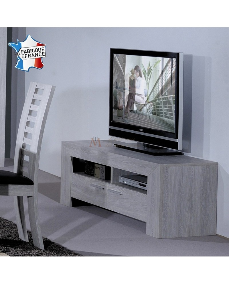 Banc tv design contemporain ch ne blanchi 2 niches 2 tiroirs - Meuble en chene blanchi moderne ...