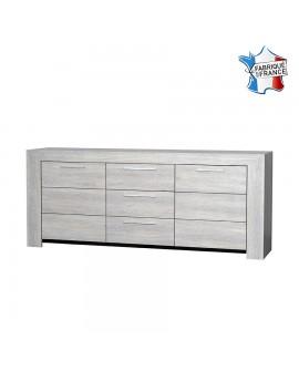Buffet enfilade 3 portes 1 tiroir décor chêne blanchi LORIE fabriqué en France