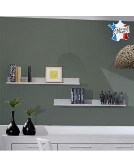 Lot de 2 étagères murales LORIE chêne blanchi pour déco tendance